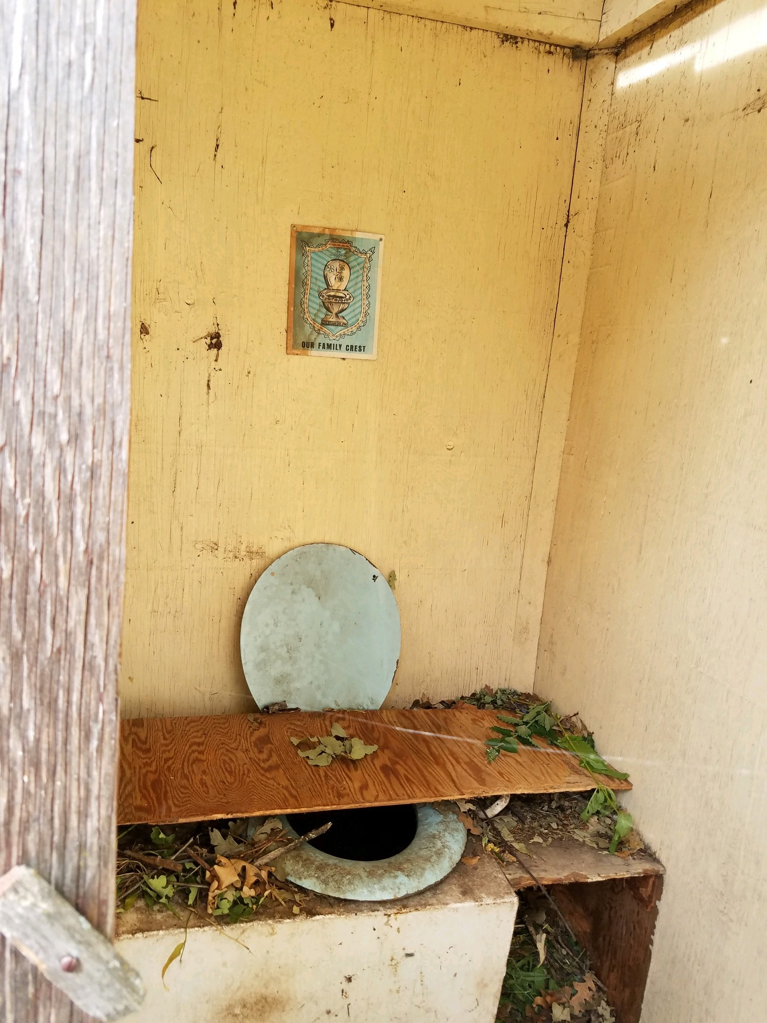 Here's the inside of the outhouse...not exactly clean and welcoming...
