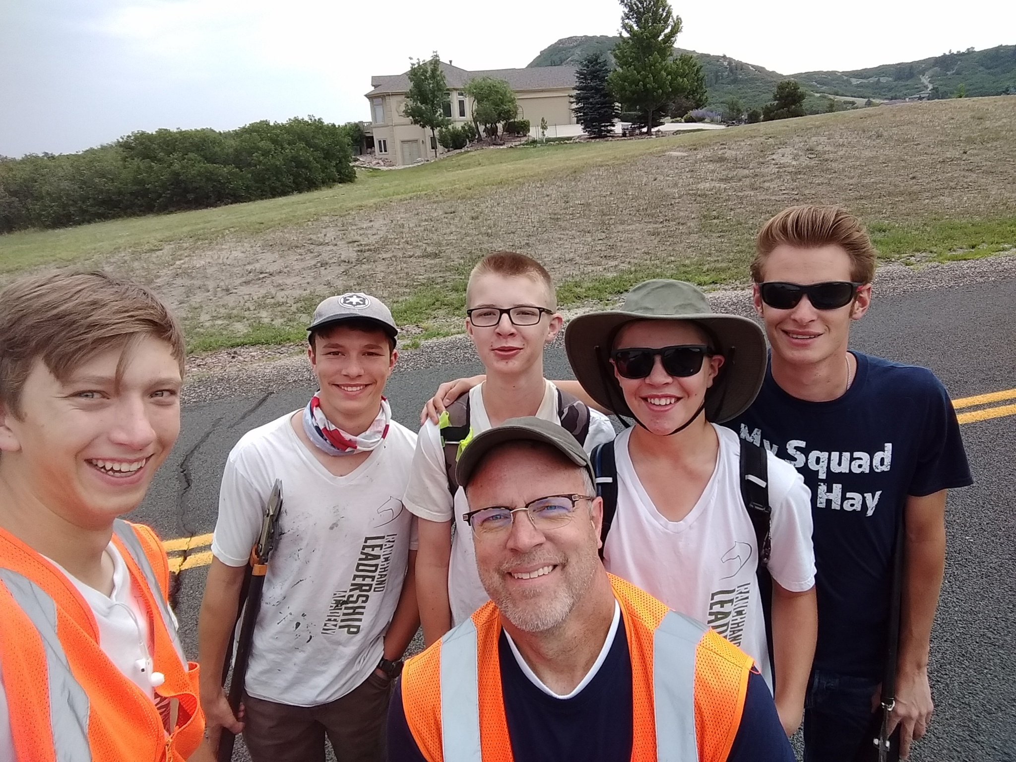 Jerry and the final Ed Young trail crew on the last day of Ranch Hand Leadership Academy 2018.
