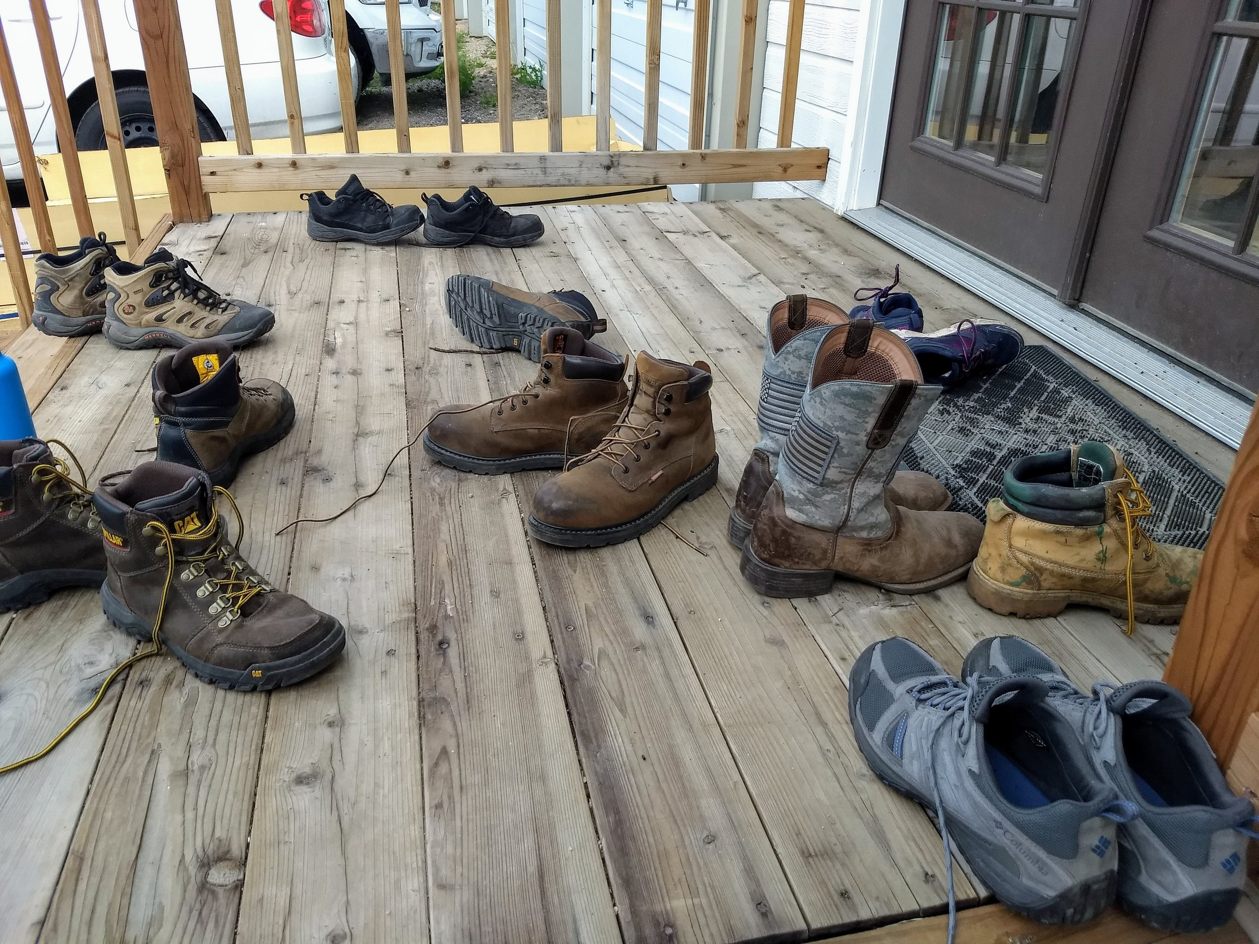 Everyone is required to take off their shoes before going into the office to eat lunch and have our daily meeting. This photo of shoes is a great symbol of the hard work done every day on the horse trails of Bell Mountain Ranch.