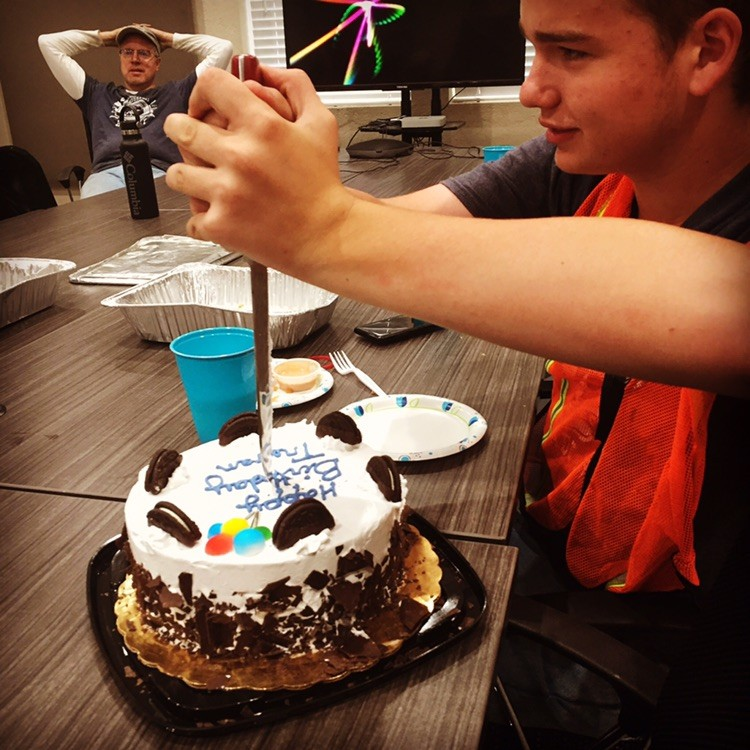 We celebrated Trevan's birthday on July 12 with Cane's chicken and an ice cream birthday cake (thanks Mom and Dad Penrod)!