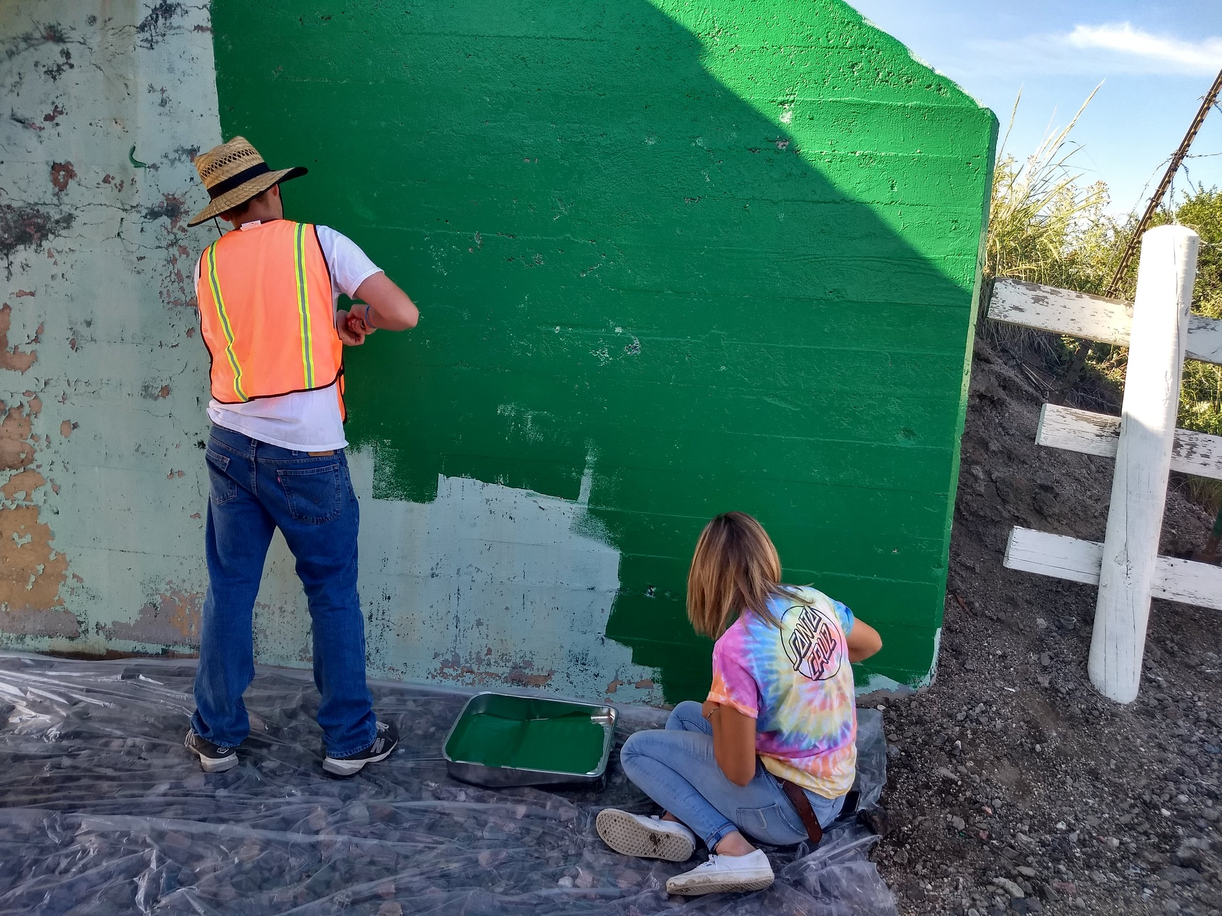 Trevan and Ella painting the south wall.