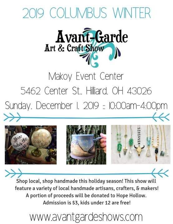 Avant-Garde Craft Show - Makoy Event Center5462 Center St. Hilliard, OHDec 1, 10-4pm