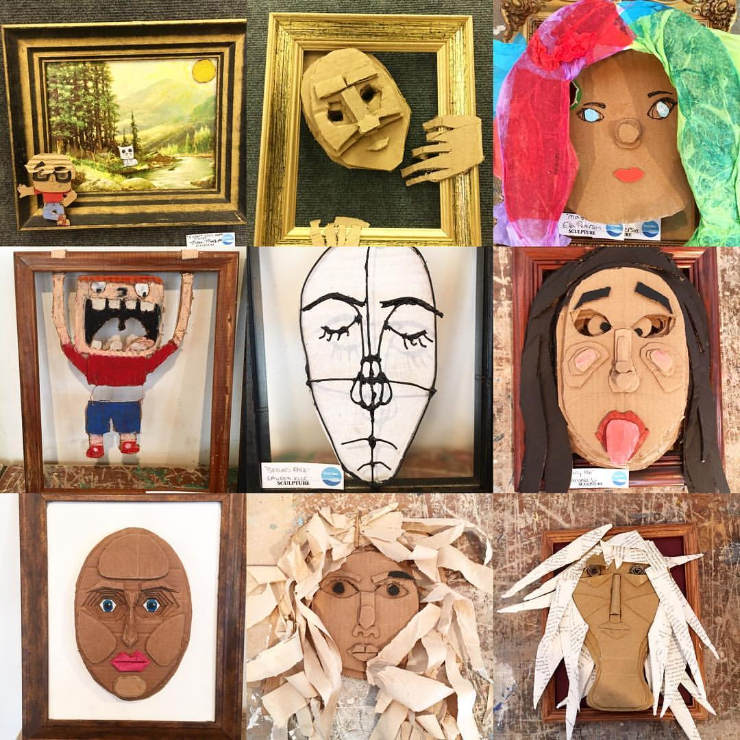 "Middle School student work from the ""Cardboard Self Portrait"" project in 2016. Materials: cardboard, paint, found objects, tissue paper, books, wire"