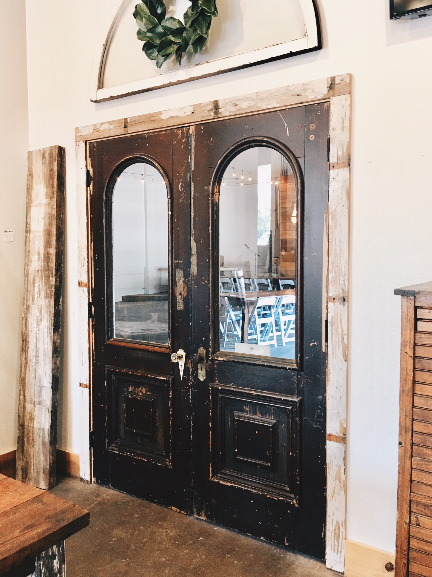 A set of antique doors leading from our cocktail space into the main hall.