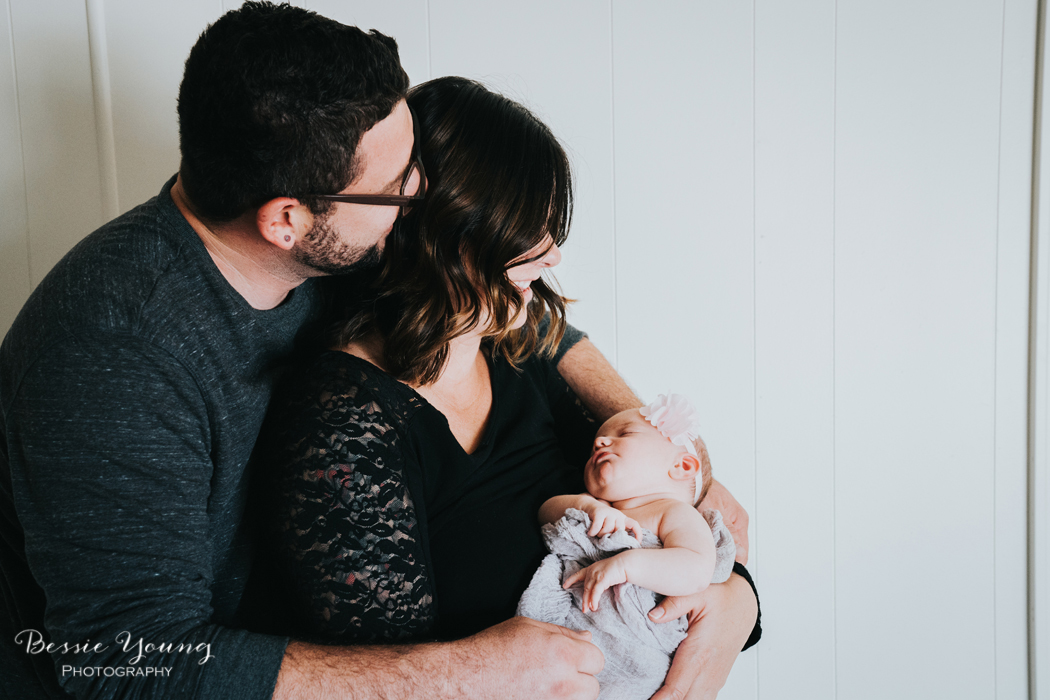 Indoor Newborn Portraits photographed by Bessie Young Photography - Family of 3 posing idea