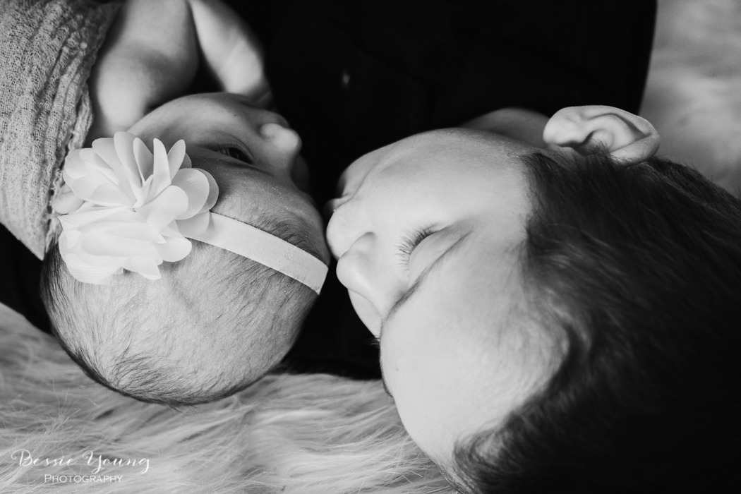 Sonora Newborn Portraits - Indoor Newborn Portraits photographed by Bessie Young Photography - Newborn and sibling photo ideas - Newborn photography girl