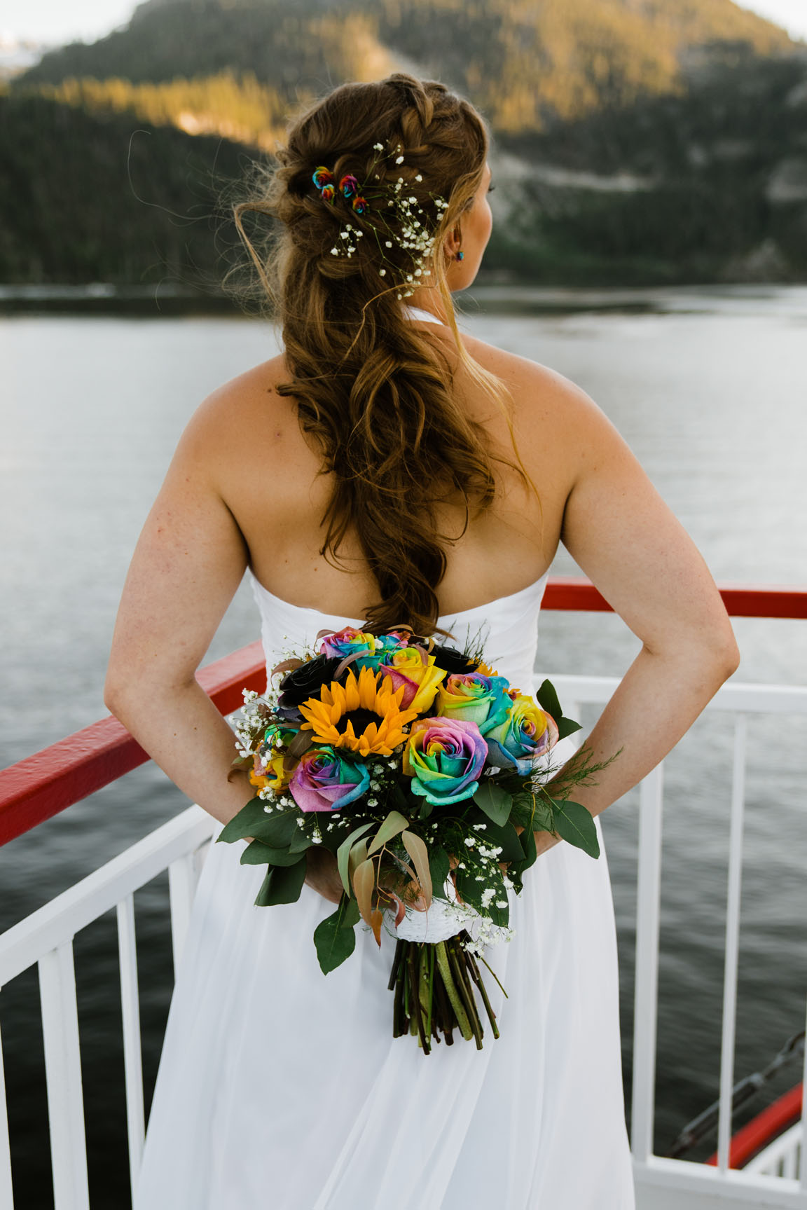Tie dye wedding bouquet Zephyr Cove Wedding | South Lake Tahoe Wedding | Sonora Photographer | Yosemite Elopement Photographer Bessie Young