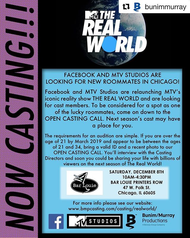 #Repost @bunimmurray ・・・ It's Back!! #therealworld #opencastingcall #chicago For more info —-  www.bmpcasting.com/casting/realworld/ #mtv #facebook