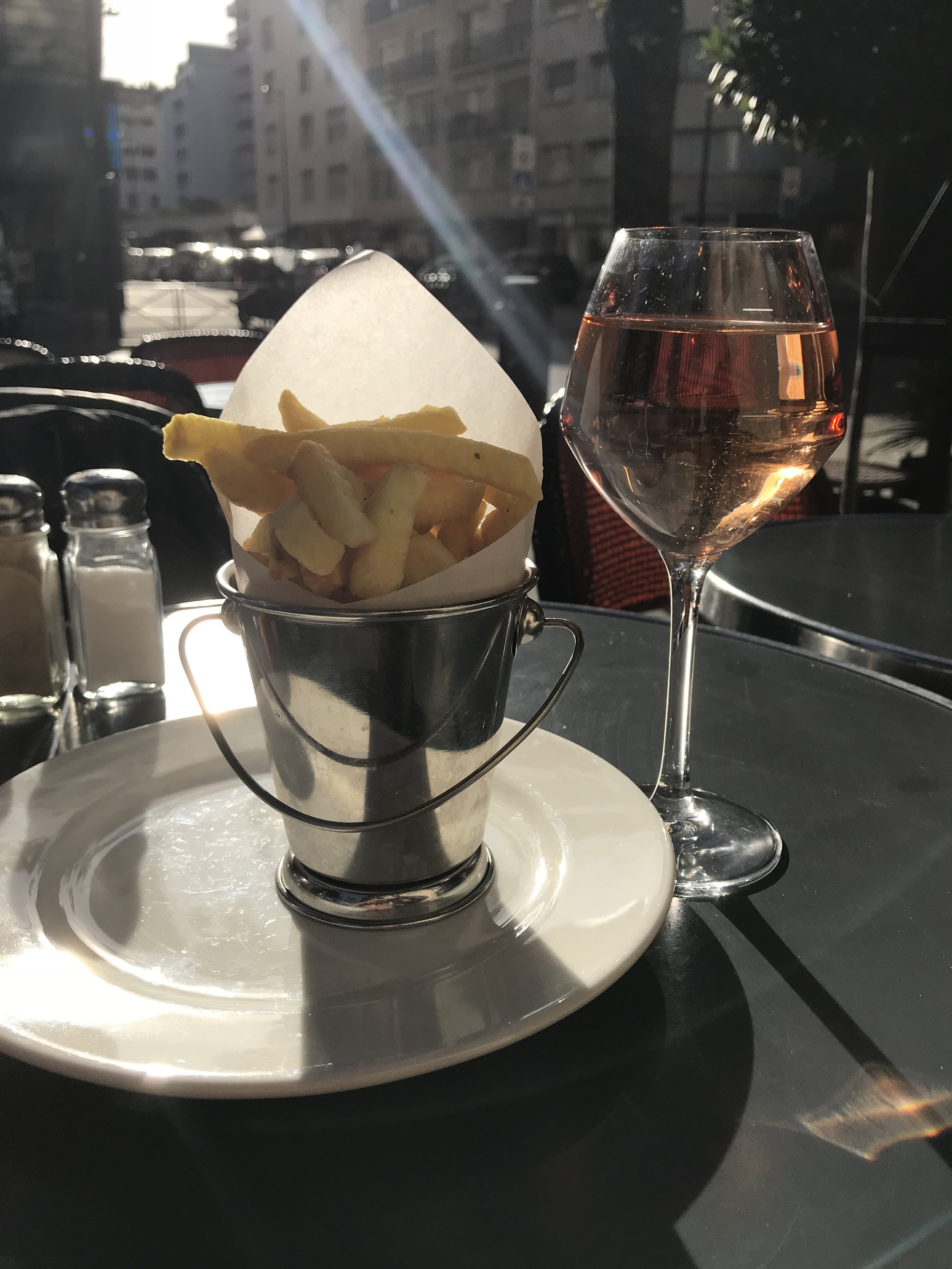 Pomme Frites and an iced cold glass of Rosé. The perfect late afternoon snack.