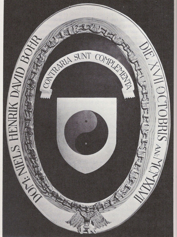 When Bohr received the  Order of the Elephant , as is customary, he choose his own crest. Above is the  Contraria Sunt Complementa  he created using the Yin Yang symbol of complementary opposites.