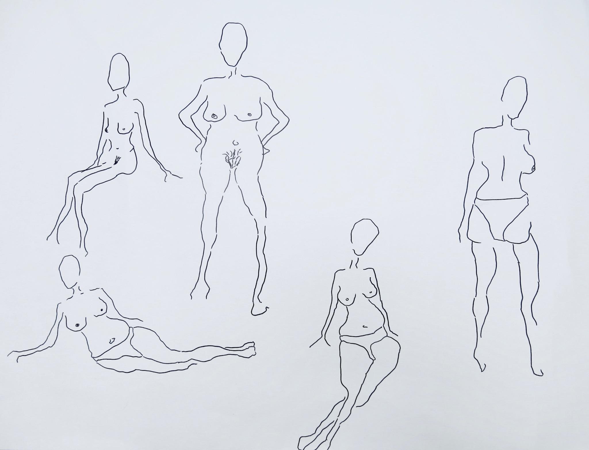 Our Women #8   Pen on archival paper  Unframed: 52 x 35 cm