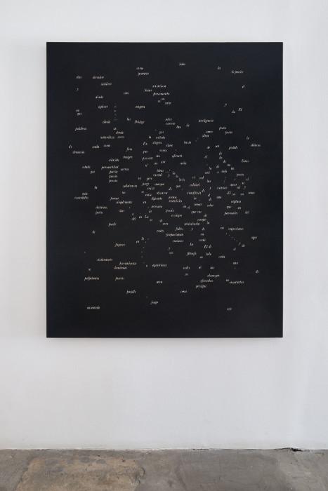 Jorge Mendez Blake, Dismantling Gorostiza (Notes on Poetry. Prologue) / Desmantelando a Gorostiza (Notas sobre poesia. Prologo), 2017, Acrylic on linen, 60 x 47.9 inches