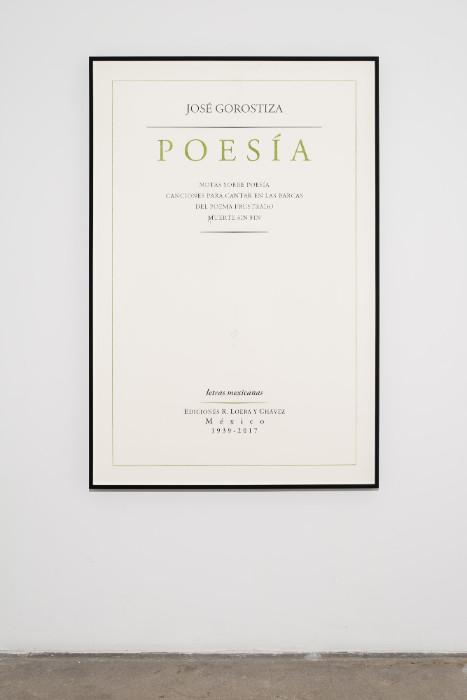 Jorge Mendez Blake, Jose Gorostiza. Poetry. 1939 Ð 2017 / Jose Gorostiza. Poesia. 1939 - 2017, 2017, Pencil and colored pencil on cotton paper, 59.5 x 40 inches (framed)