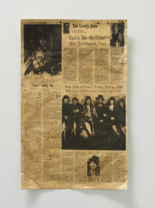 Fiona Connor, Broadsheet featuring Anne Truitt in the News American, 1975, #3, 2017, silkscreen and pigment on coated aluminum foil, 23.25 x 14.5 inches.
