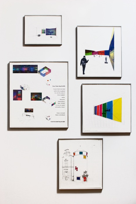 """Diana Thater, Siegen Installation Drawings, 2003, Vellum with ink, graphite, pantone film, and ink jet prints, 26 x 22 7/8 inches, 20"""" x 17 1/8"""", 17 3/16"""" x 20"""", 14 1/4"""" x 11"""", 19"""" x 19""""."""