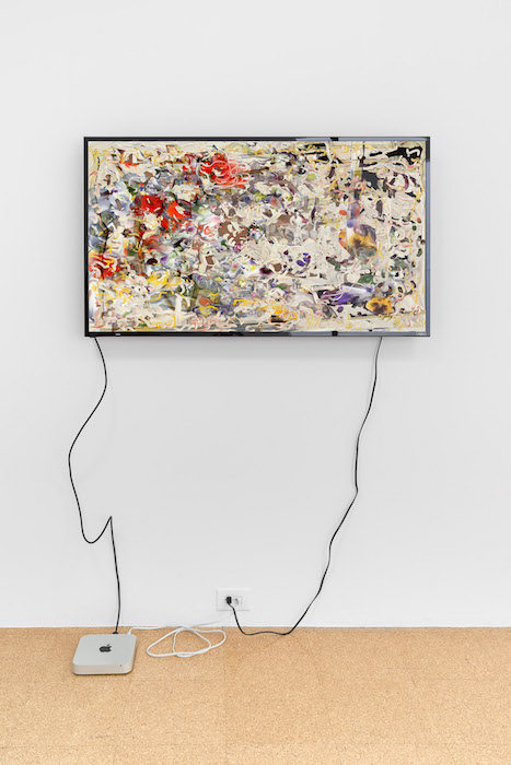 Petra Cortright, bollywood stars nude_creatine Pyruvate, 2017, Digital Video, 28 1/4 x 49 inches (monitor), edition of 3.