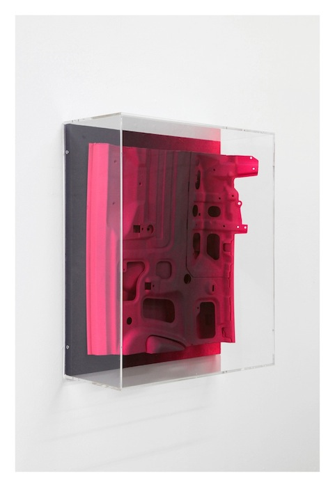 Jan Albers, rUby, 2016, metal, wood, spray paint, 24.8 x 21.65 x 9.06 inches