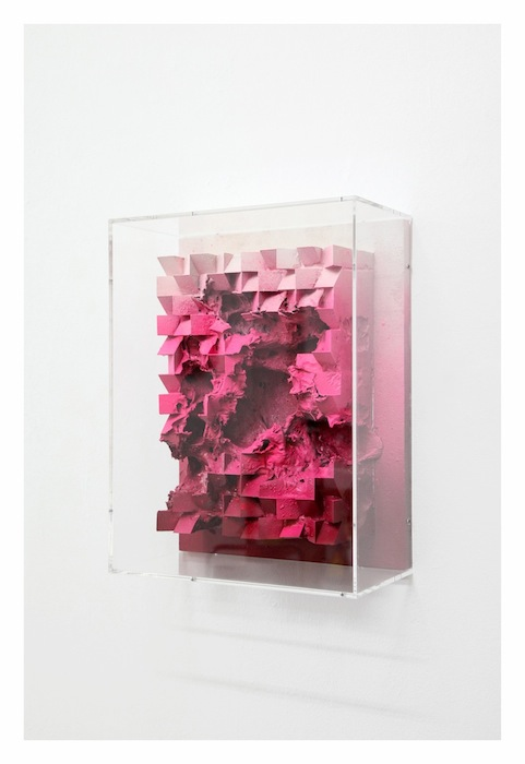 Jan Albers, rUinrUby, 2016, spray paint & pigment on polystyrene & wood, 20.87 x 16.14 x 8.27 inches