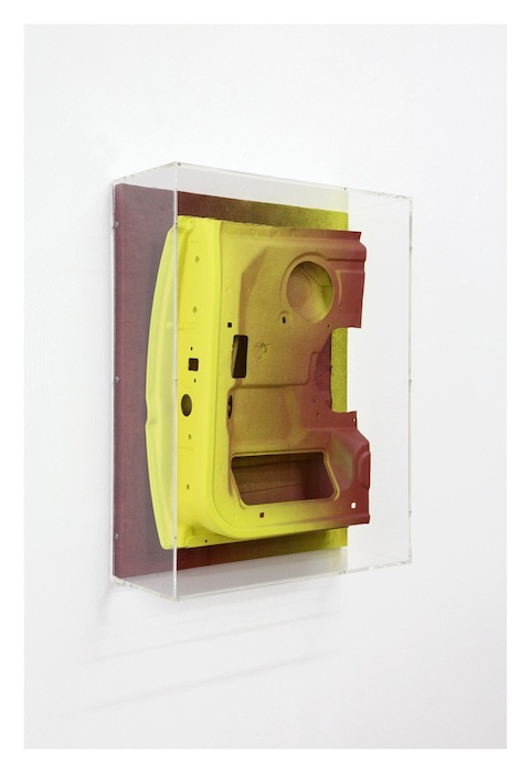 Jan Albers, eXit, 2016, metal, wood, spray paint, 26.77 x 20.08 x 7.87 inches