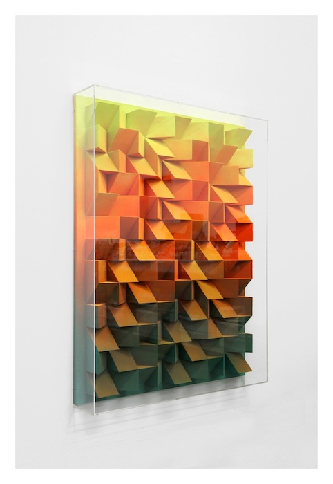 Jan Albers, cAmpAricAmp, 2016, spraypaint on Styrodur and wood, 54.72 x 38.98 x 6.69 inches