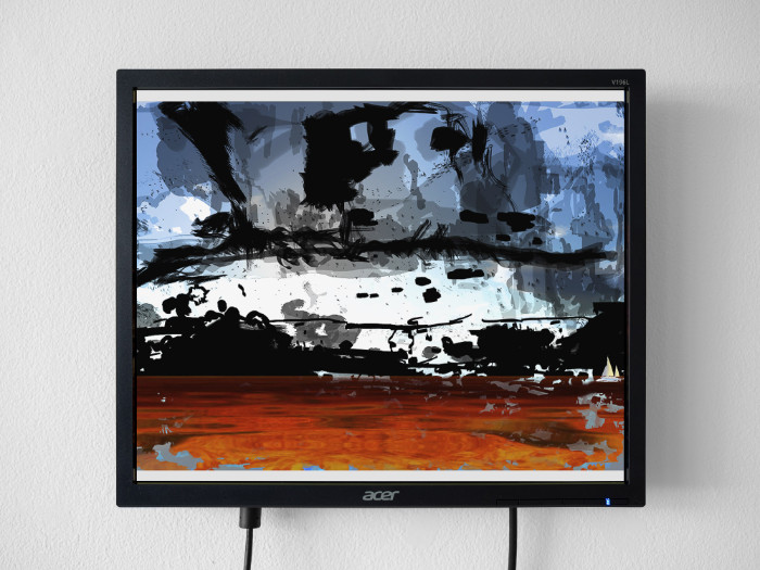 Petra Cortright, Clouds Over the Ocean_with_dark_painting, 2017, flash animation, 13 1/2 x 16 inches (monitor)