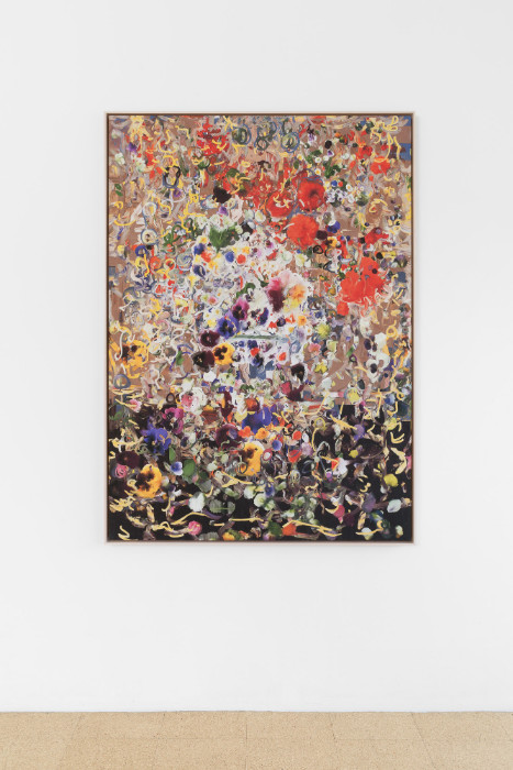 Petra Cortright, dohayme_cuzHARTsurgeonCaughtdead...wif.hotPump, 2016, digital painting on Belgian linen, 62 1/4 x 44 3/4 inches (framed). Installation view 1301PE.