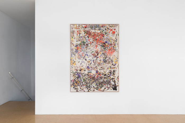 Petra Cortright, CF-41Adapter4ShmaleWoman_drivingtuCARmageddon, 2016, digital painting on Belgian linen, 68 x 48 7/8 inches (framed). Installation view 1301PE.