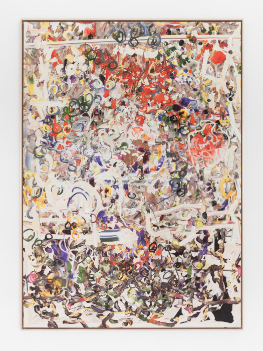 Petra Cortright, CF-41Adapter4ShmaleWoman_drivingtuCARmageddon, 2016, digital painting on Belgian linen, 68 x 48 7/8 inches (framed)