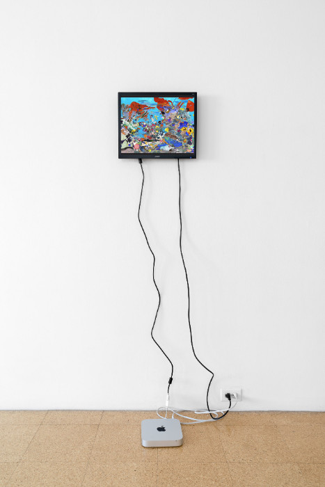 Petra Cortright, Tropic Fish-invert-painting, 2017, flash animation, 13 1/2 x 16 inches (monitor). Installation view 1301PE.