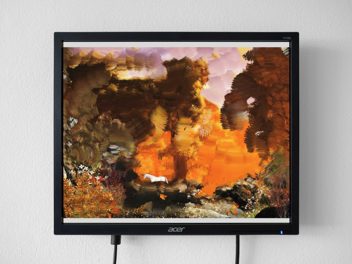 Petra Cortright, Autumn Forest-with_painted_background, 2017, flash animation, 13 1/2 x 16 inches (monitor)
