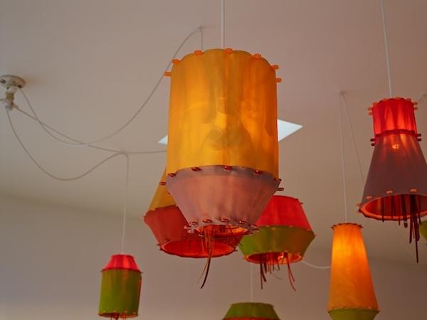 Jorge Pardo, DADS CUBA, 2012, MDF, paint, fabric, foil, plastic, electrical cords. Dimensions variable. Installation view 1301PE, Los Angeles.