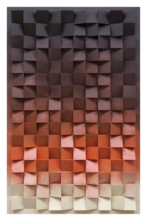 Jan Albers, hunDreDsixtyupanDDownfromDusktillDawn, 2014, spray paint on polystyrene & wood, 67.32 x 43.30 x 5.11 in, 171 x 110 x 13 cm
