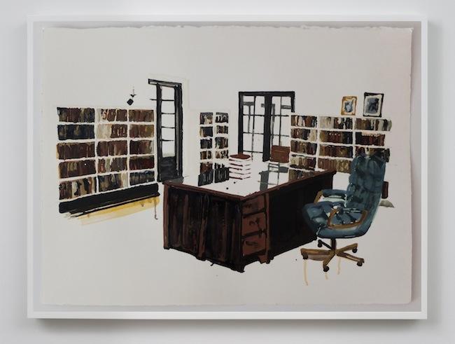 Kirsten Everberg, Villa Arora, 2013, oil and enamel on paper, 22 x 30 inches, 55.9 x 76.72 cm