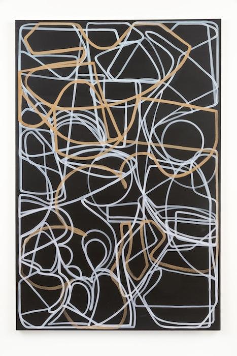 Blake Rayne, Carrière (Dangerous), 2013, acrylic & walnut shell on canvas, 77 x 51 inches, 195.6 x 129.5 cm