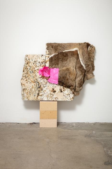Jessica Stockholder, Related, 2013, Fur, plastic parts, wood fiber blocks, granite, acrylic paint, 28.5 x 27 x 5 inches