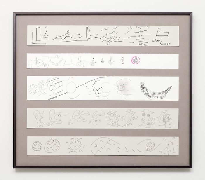 Jessica Stockholder, L, Screw, Button, Bird, Fish, 2013, Black marker, pencil, colored pencil on paper, 31 x 35 1/4 inches, 78.7 x 89.5 cm