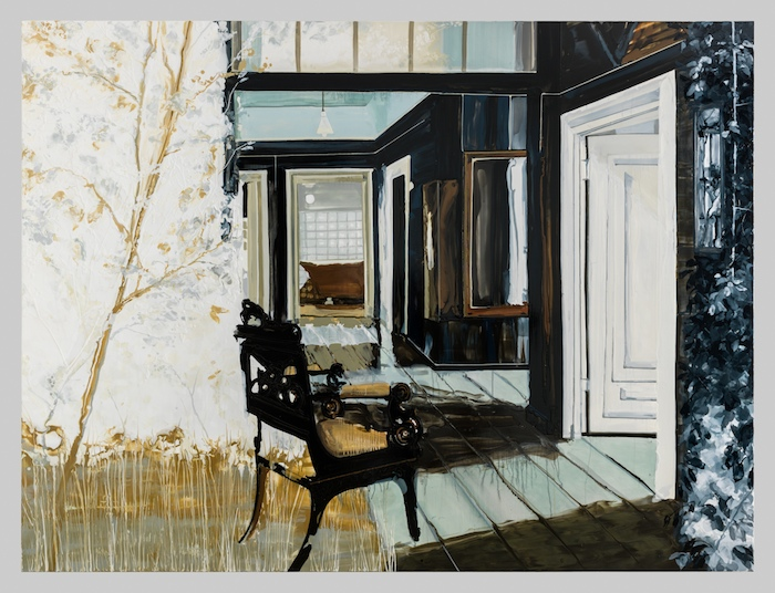 Kirsten Everberg, Come To Tomshino (Mirror), 2013, Oil and enamel on canvas over wood panel, 72 x 96 inches, 182.9 x 243.8 cm