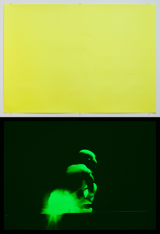 Philippe Parreno, A Wise Chinese Monk Shitting Light, lamp prototype for Alejandro Jodorowsky, 2006, 2013, Screenprint, printed in phosphorescent ink, 39.5 x 55.5 inches, edition of 6