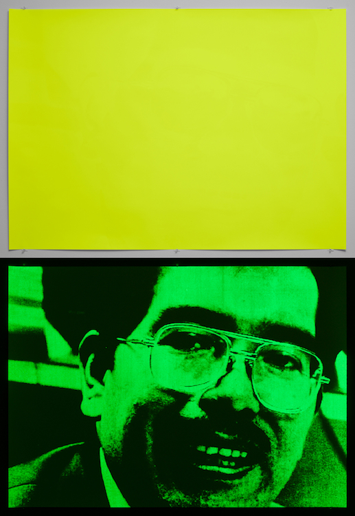 Philippe Parreno, La Batalla de los Patos, a documentary project with Rirkrit Tiravanija, 2003, 2013, Screenprint, printed in phosphorescent ink, 39.5 x 55.5 inches, edition of 6
