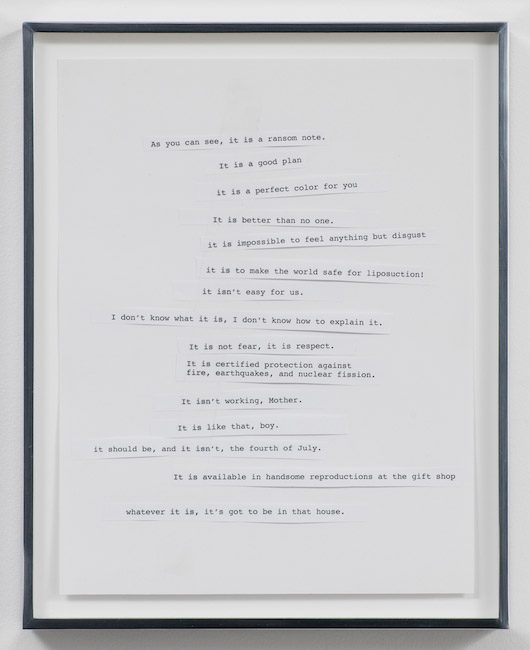 Kerry Tribe, As you can see, it is a ransom note., 2012, Collage and clear tape on paper, 12.5 x 10 inches, 31.8 x 25.4 cm framed