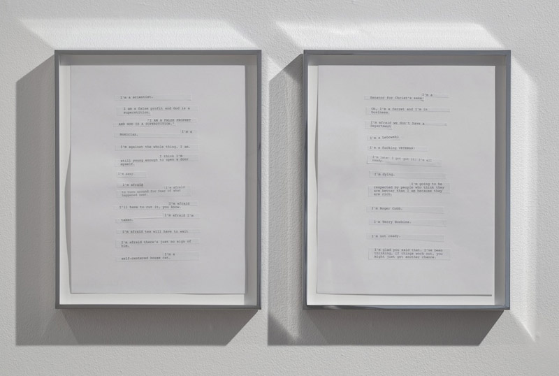 Kerry Tribe, I'm a scientist., 2012, Collages and glue on paper, diptych: 12.5 x 21.875 inches, 31.8 x 55.6 cm overall, 12.5 x 10 inches, 31.8 x 25.4 cm each framed