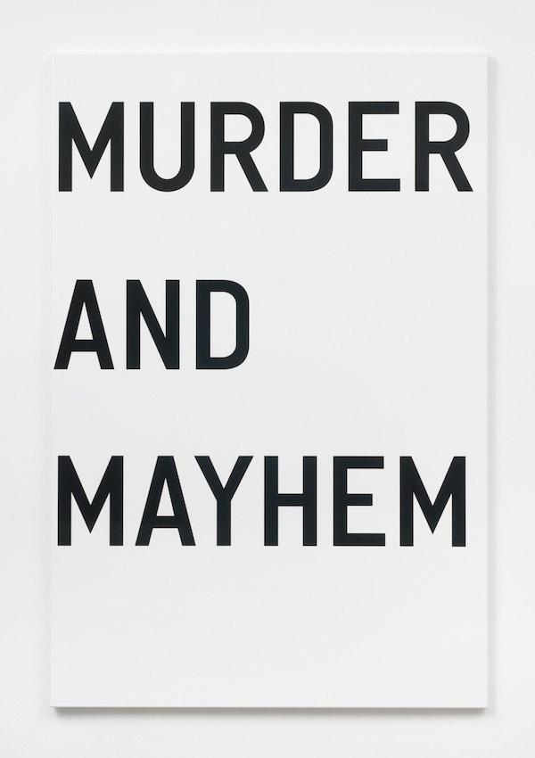 Rirkrit Tiravanija, untitled (murder and mayhem), 2011, enamel on steel, 48 x 32 inches, 121.9 x 81.3 cm.