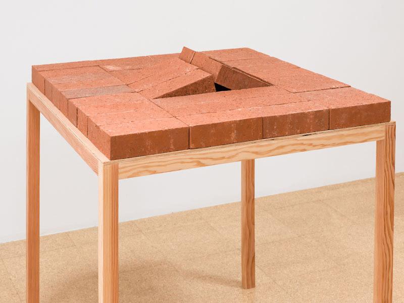 Jorge Mendez Blake, The Kafka Monument, 2012, bricks, book, wood, 39 x 33.5 x 34.25 inches