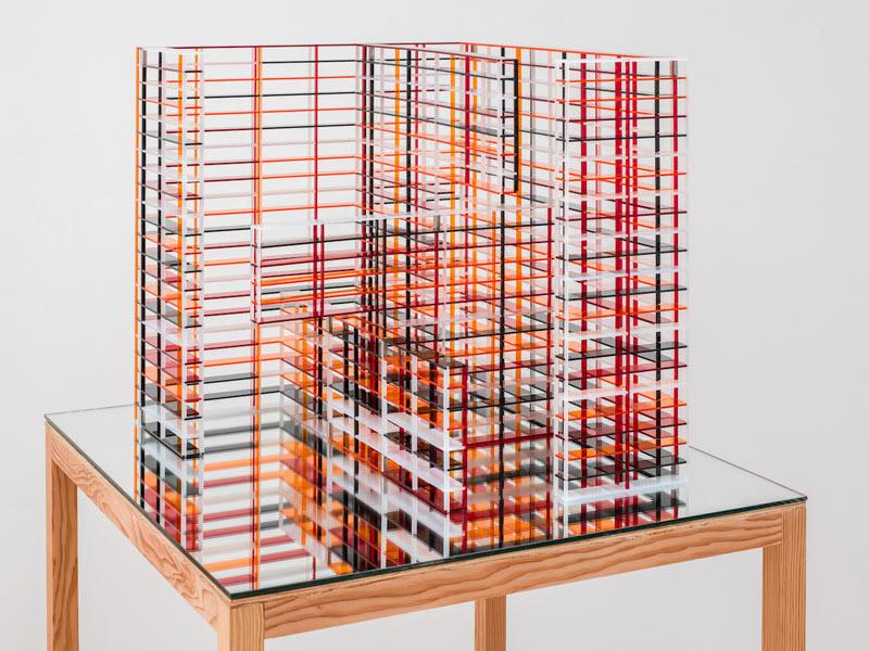 Jorge Mendez Blake, The James Joyce Monument (open), 2012, plexiglass, mirror, wood, 55 x 31.5 x 29.5 inches