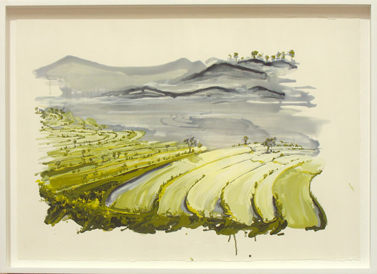 Kirsten Everberg, Rice Paddies, Calabasas, 2011, oil and enamel on paper, 22 x 30 inches, 55.9 x 76.2 cm