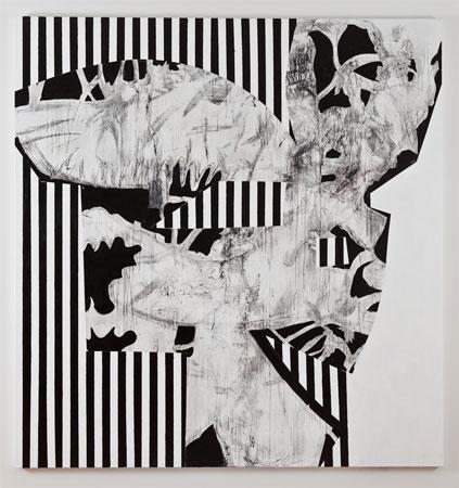 Charline von Heyl, Hibou Habibi, 2011, Acrylic and charcoal on linen, 82 x 78 inches, 208.3 x 198.1 cm