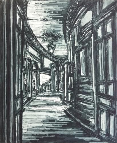 Kirsten Everberg, Kings Cross St. Pancras (East), 2010, Aquatint, etching on Somerset paper 300gr, 20.87 x 15.5 in.