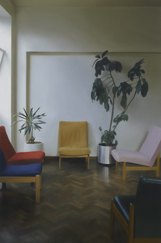Paul Winstanley, Interior with a Yellow Chair, 2010, Oil on linen, 44.88 x 29.92 in., 114 x 76 cm