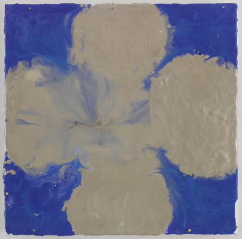 Judy Ledgerwood, On blue and breathing, 2010, Encaustic on canvas, 15 x 15 in.