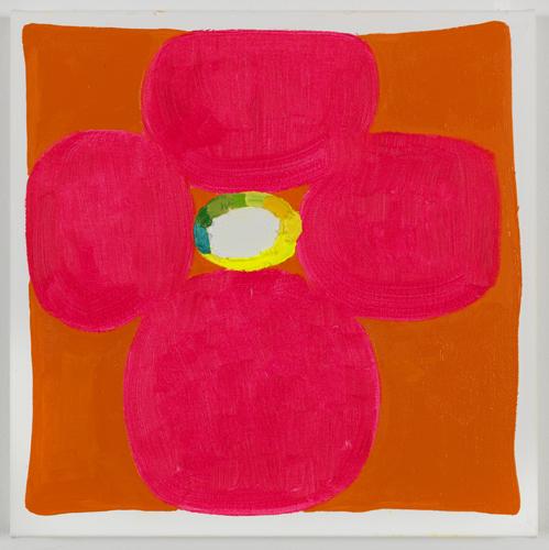 Judy Ledgerwood, Tangarine sun and summer sea, 2010, Oil on canvas, 15 x 15 in.